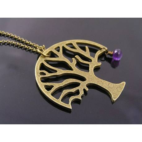 Large Tree of Life Necklace, Amethyst