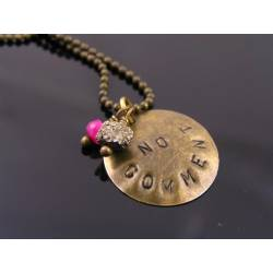 'No Comment' Hand Stamped Necklace with Pyrite and Ruby
