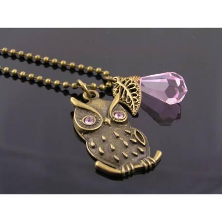 Pink Crystal Set Owl Pendant Necklace