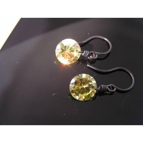 Solitaire Earrings, 2ct each in olivine