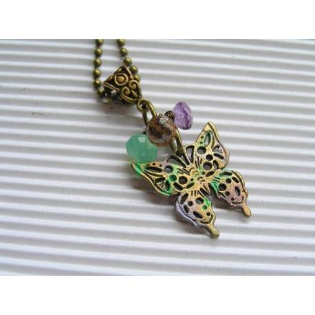 Amethyst, Chalcedony and Mystic Quartz Butterfly Necklace