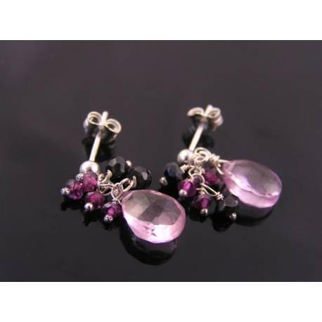 Pink Grapefruit Quartz, Rhodolite Garnet and Black Spinel Sterling Ear Studs