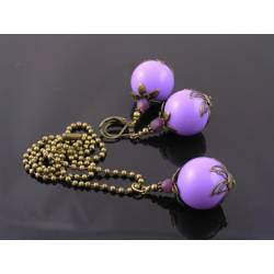 Large Orchid Colored Bead Necklace and Earring Set