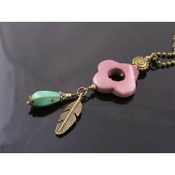 Southwestern Necklace with Mookaite, Turquoise and Feather Charm,