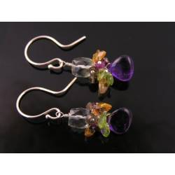 Gemstone Cluster Earrings, Sterling Silver