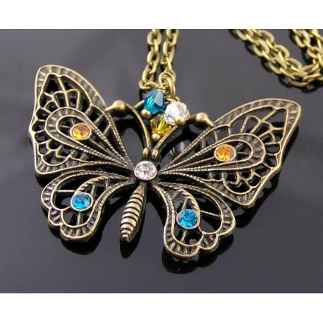 Filigree Butterfly Necklace, Handset with Crystals and Rhinestones