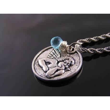 Thinking Angel Necklace with Gemstone