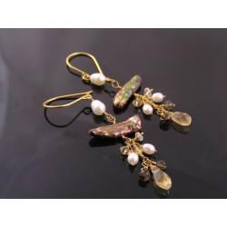 Pearl, Smokey Quartz and Citrine Earrings