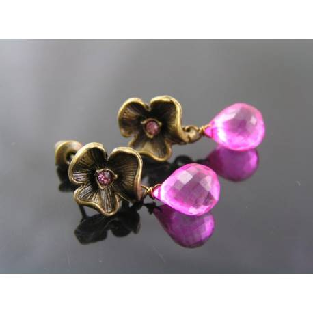 Mystic Pink Quartz Flower Earrings