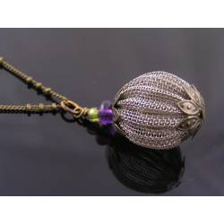 Amethyst and Wire Bead Necklace, Satellite Chain