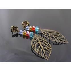 Long Crystal Flower Stud Earrings