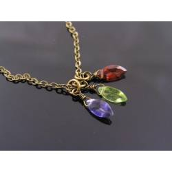 Iolite, Peridot and Garnet Necklace