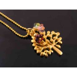Whimsical Gold Tree of Life with Czech Glass Flowers Necklace