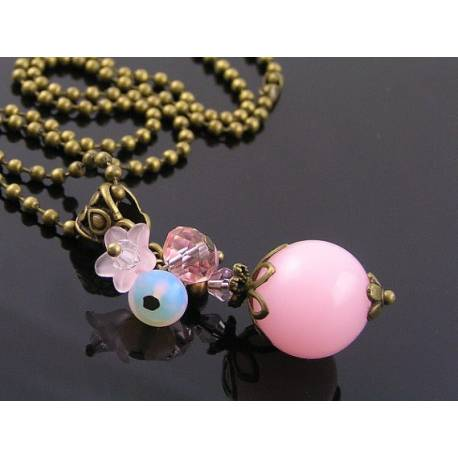 Sweet Pink Necklace with Crystal, Flower and Opalite Beads