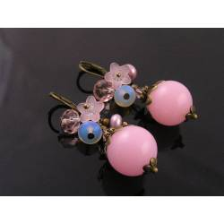 Romantic Pink Lucite, Crystal, Pearl and Flower Earrings