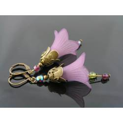 Purple Lucite Flower Earrings