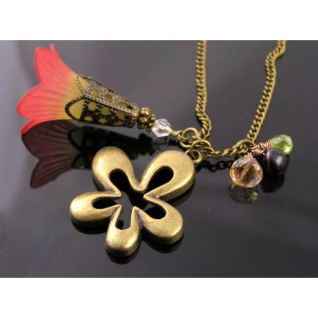 Hand Dyed Lucite Flower Necklace, Peridot, Garnet, Mystic Quartz