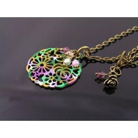 Filigree Flower Pendant Necklace