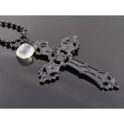 Black Cross Pendant with Moonstone Necklace