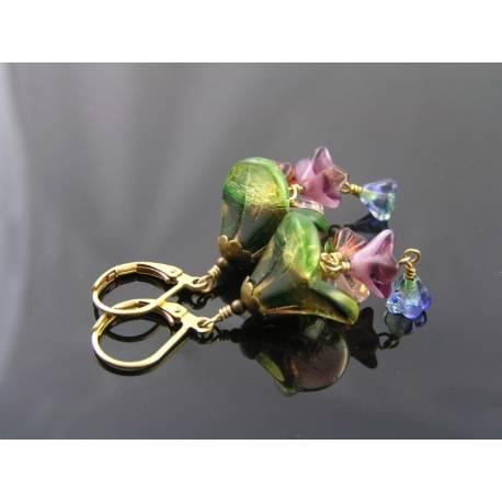 Flower Earrings, Czech Beads