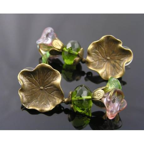 Lilypad Earrings with Czech Glass Flowers