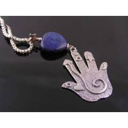 Carved Lapis Lazuli Heart Necklace with Spiral Hand Pendant
