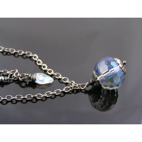 Shimmering Disco Ball Faceted Pendant on Gunmetal Chain