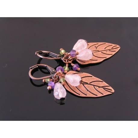 Rose Quartz, Amethyst and Peridot Copper Leaf Earrings