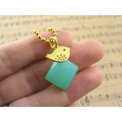 Seafoam Green Chalcedony Nugget with Gold Bird Necklace