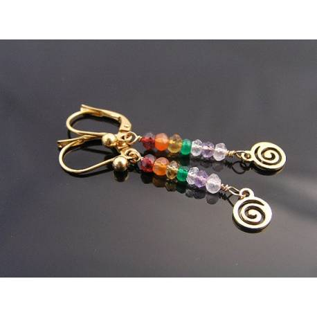 Chakra Colours Gemstone Spiral Earrings