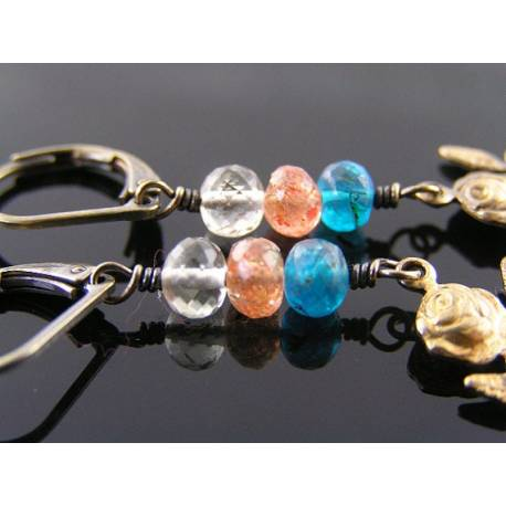Cute Rose Charm Earrings - Apatite, Sunstone and Rock Quartz