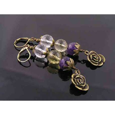 Rock Quartz, Lemon Quartz and Amethyst Earrings with Rose Charm