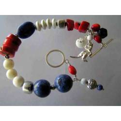 Patriotic Gemstone Bracelet, Sterling