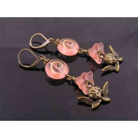 Peach Flower and Spiral Czech Glass and Angel Charm Earrings