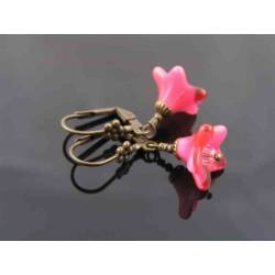 German Cranberry Flower and Crystal Earrings