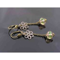 Czech Crystal Filigree Flower Earrings
