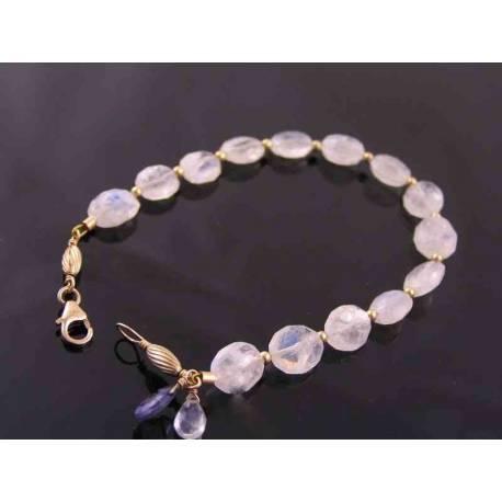 Rainbow Moonstone Gold Bracelet