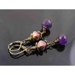 Amethyst Drop and Light Purple Bead Earrings