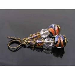 Orange and Blue Murano Style Czech Glass Bead Earrings