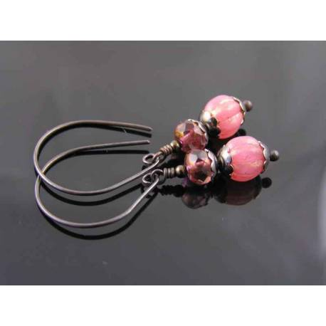 Pink and Black Czech Glass Bead Earrings
