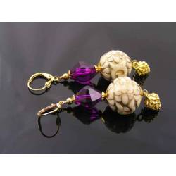 Ornate Gold and Purple Lucite Earrings with New Vintage Beads