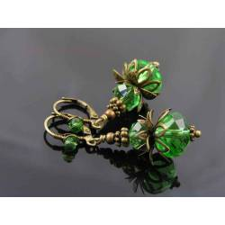 Bright Green Crystal Earrings with Wire Wrapped Ear Wires