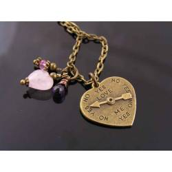 Heart Charm with Rose Quartz Heart, Amethyst and Mystic Pink Topaz Necklace