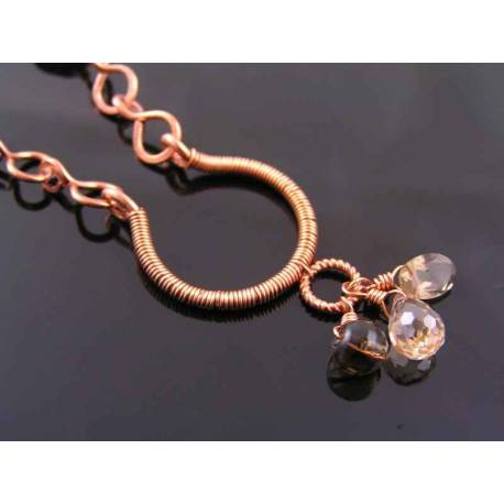 Handmade Copper and Smokey Quartz Necklace