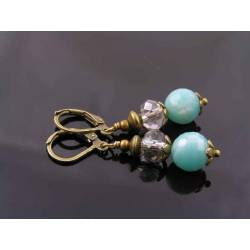 Amazonite and Crystal Earrings