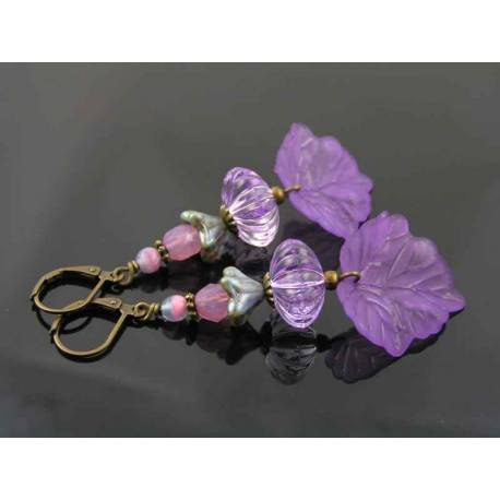 Purple Beaded Earrings with Czech Beads and Lucite Leaf