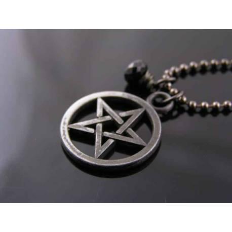 Dark Pentagram and Black Spinel Necklace, Black Necklace