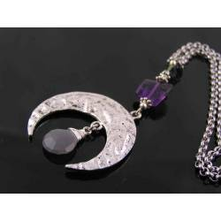 Antique Silver Crescent Moon Pendant with Grey Moonstone and Amethyst