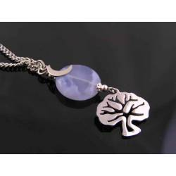 Tree of Life Necklace with Blue Chalcedony Bead and Crescent Moon Charm