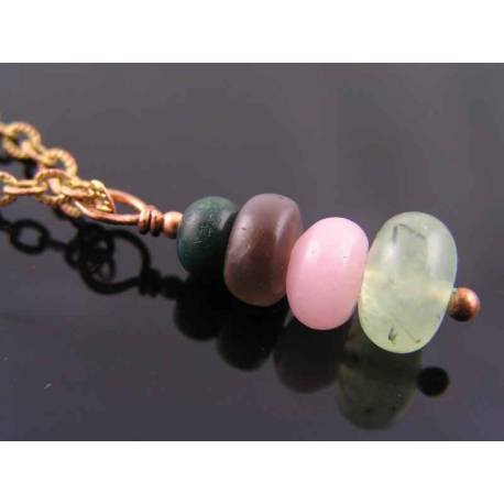 Stacked Gemstone Necklace with Prehnite, Bloodstone, Pink Jade and Tourmaline Cat's Eye